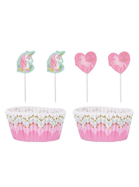 48-teiliges Cupcake Set mit Einhorn Motiv