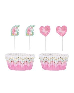 48 Cápsulas de cupcake + 48 toppers de unicornio - Pretty Unicorn