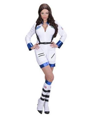 Witte vrouwelijke astronaut kostuum voor vrouw