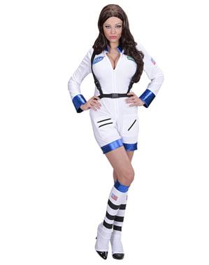 Fato de mulher astronauta branco para mulher