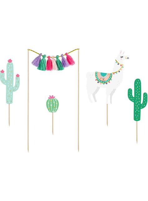 5 dekorací na dort s lamou - Llama party