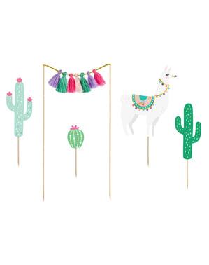 5 décorations pour gateaux Lama - Llama Party