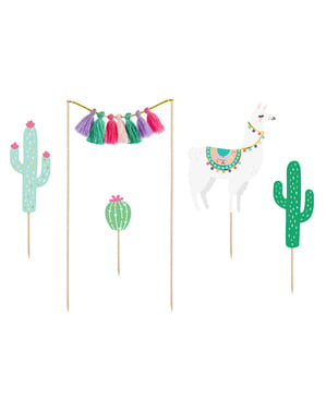5 Llama Cake Toppers - Llama Party