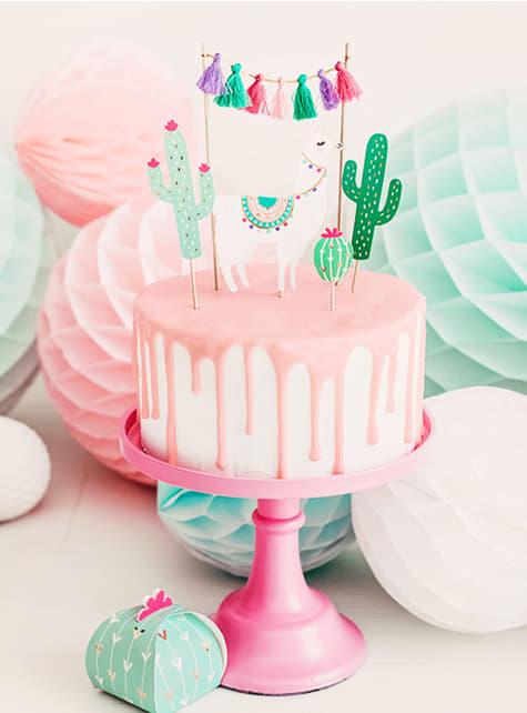 5 adereços lama para bolo - Llama Party - barato
