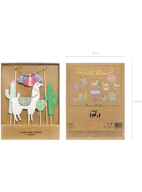 5 dekorací na dort s lamou - Llama party - koupit