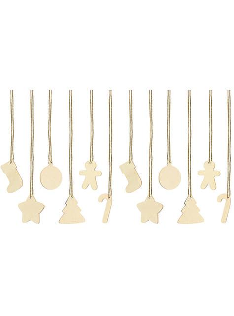 12 etiquetas natalícias em madeira para prendas