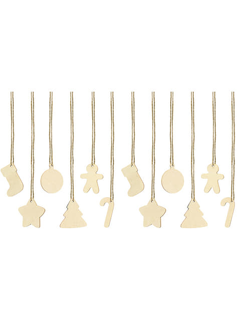 12 Wooden Christmas Gift Tags