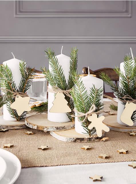 12 etiquetas navideñas de madera para regalos - barato