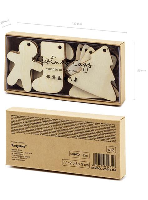 12 etiquetas natalícias em madeira para prendas - compra
