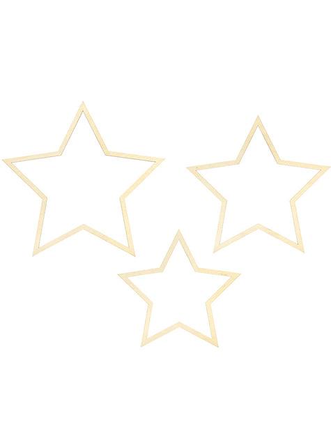 3 decorações de pendurar em forma de estrela