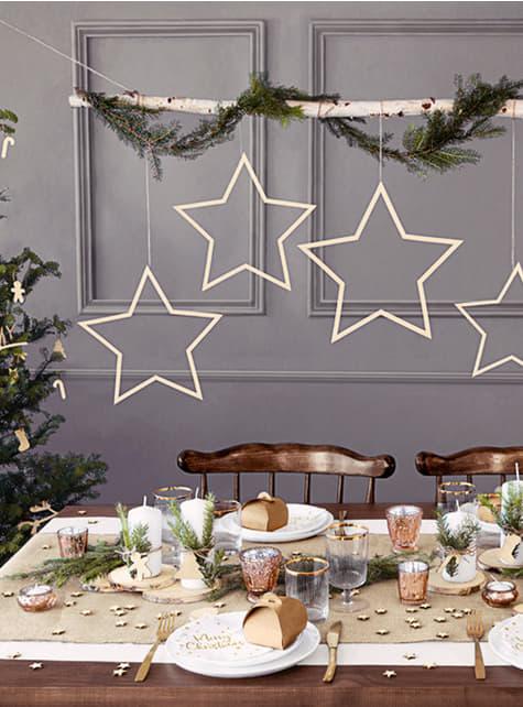 3 decorações de pendurar em forma de estrela - barato