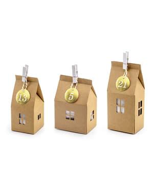 Calendario de adviento con forma de casitas