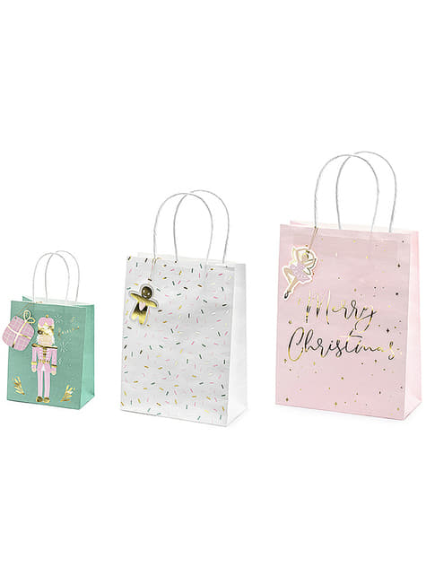 3 bolsas de regalo navideñas tonos pastel