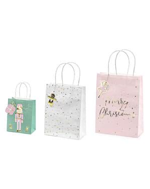 3 torebki na prezenty świąteczne pastelowe odcienie
