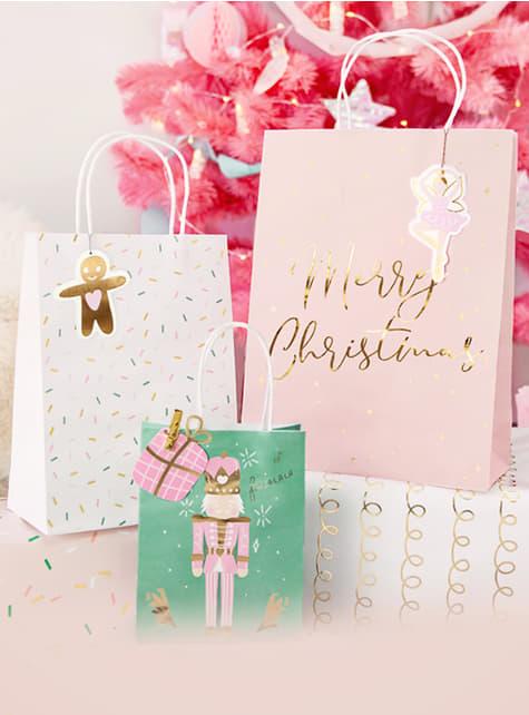 3 vánoční dárkové sáčky v pastelových odstínech - pro děti i dospělé