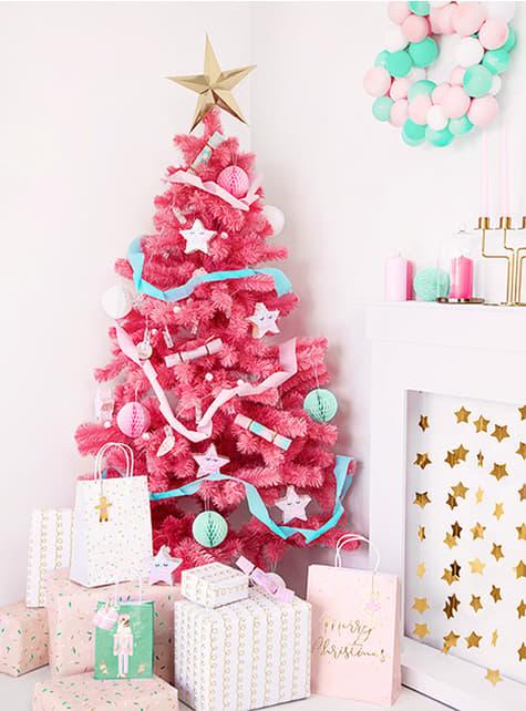 3 bolsas de regalo navideñas tonos pastel - original