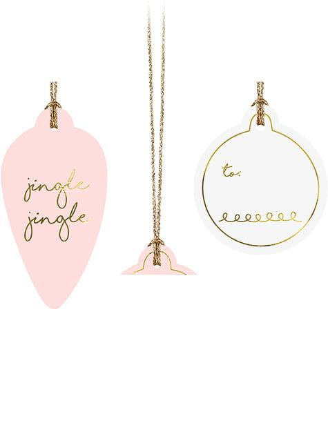 12 étiquettes de Noël pour cadeaux roses, blancs et or