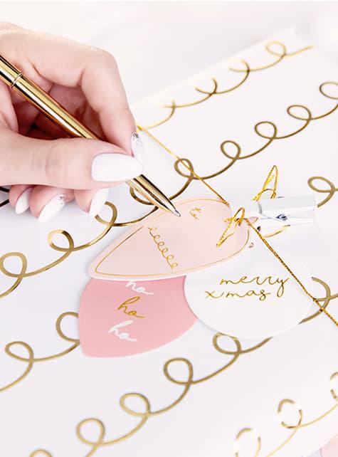 12 etiquetas navideñas para regalos rosas, blancas y doradas - barato