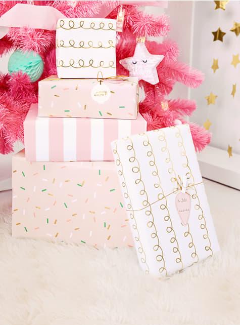 12 etiquetas para prendas de Natal cor-de-rosa, brancas e douradas