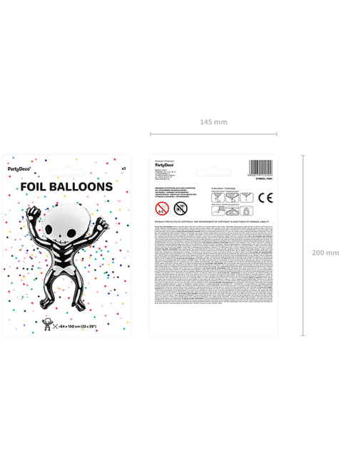 Ballon aluminium Squelette Halloween (84x10 cm) - acheter