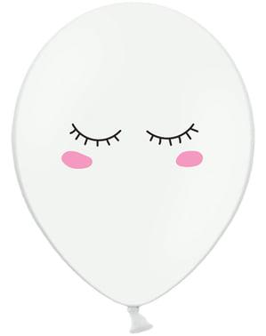 6 ekstravahvaa ilmapalloa hymynaama yksisarvisella (30cm)