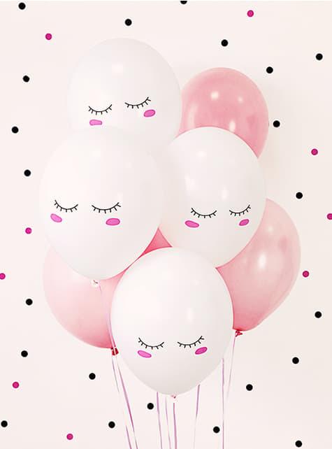 6 ekstra stærke balloner med smilende enhjørning (30 cm) - til fester