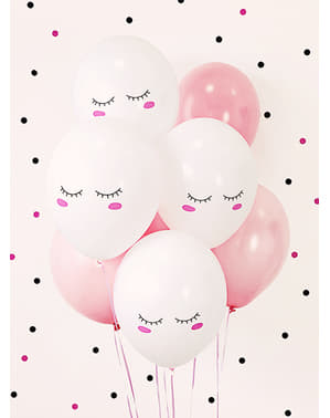 6 extra strong balloons with smiley unicorn (30 cm)