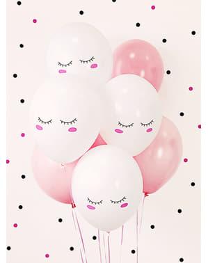 6 Luftballons extra stark Smiley Einhorn (30 cm)