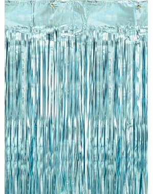 Franje gordijn in blauw  (2.5 m)