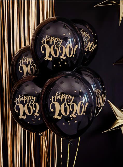 6 balões preto pastel passagem de ano