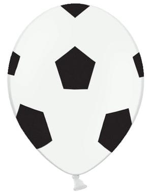 6 balões bola de futebol (30cm)