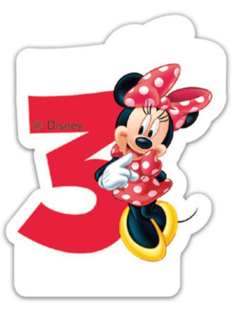 Vela número 3 Disney Minnie Mouse