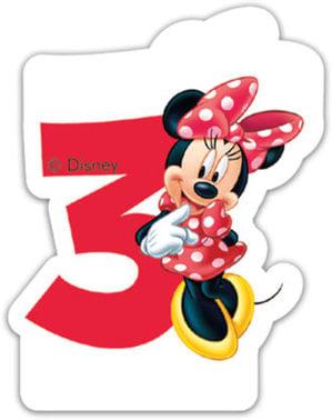 Świeczka z numerem 3 Disney Minnie Mouse