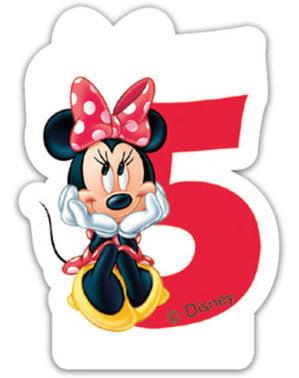 Kaarsje nummer 5 Minnie Mouse