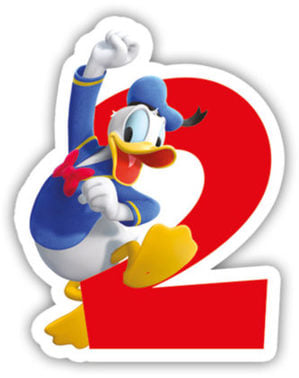 Świeczka z numerem 2 Playful Mickey