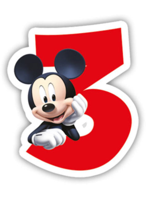 Playful Mickey Number 3 Candle - Clubhouse