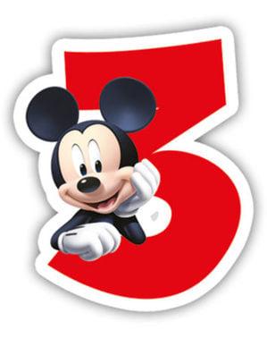 Świeczka z numerem 3 Playful Mickey