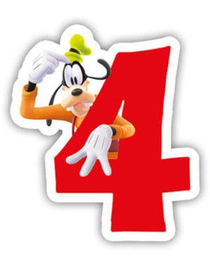 Vidám Mickey Number 4 gyertya - Klubház