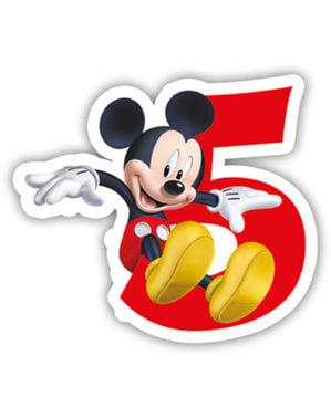 Vidám Mickey Number 5 gyertya - Klubház