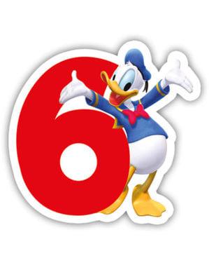 Vidám Mickey Number 6 gyertya - Klubház