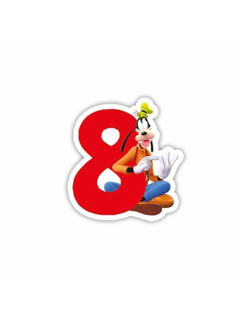 Vela número 8 Mickey Mouse - Clubhouse