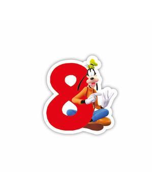 Vidám Mickey Number 8 gyertya - Klubház