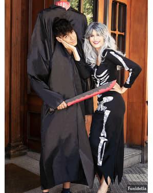 Disfraz de esqueleto negro para mujer