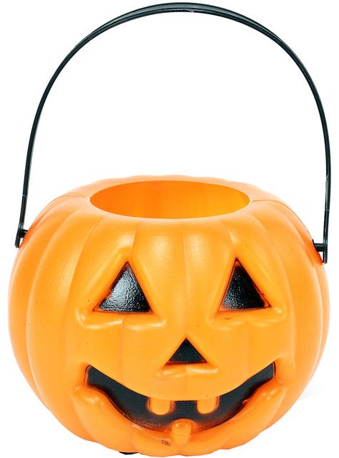 Cesta de calabaza con luz para Halloween (10 cm)