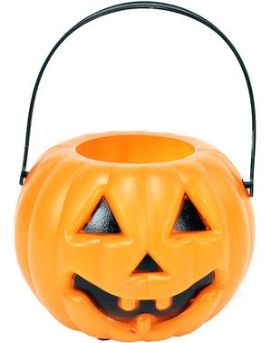 Pumpkin basket with light for Halloween (10 cm)