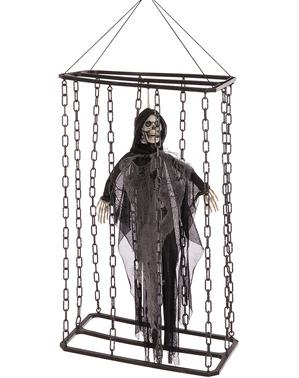 Wisząca dekoracja Halloween ruchomy, grający i świecący Duch w klatce (70 cm)