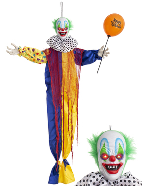 Wisząca dekoracja Halloween ruchomy, grający i świecący Przerażający Klown (170cm)