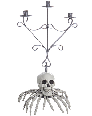Candelabra of a skeleton with fingers for Halloween (48 cm)