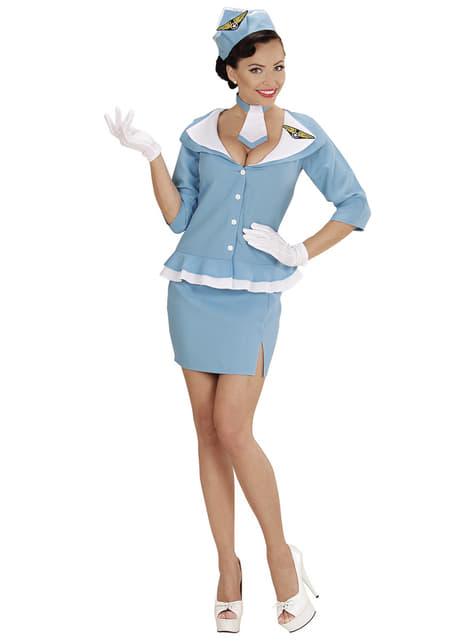 Disfraz de azafata retro para mujer talla grande