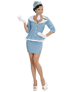 Womens Plus Size Retro Air Hostess Costume